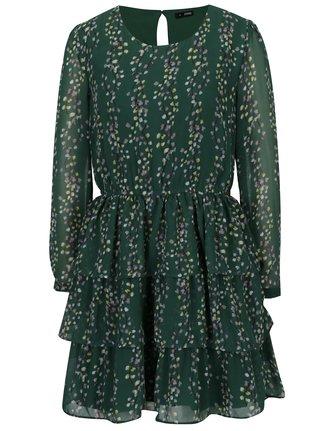 Zelené vzorované šaty s volánmi ONLY Ditte