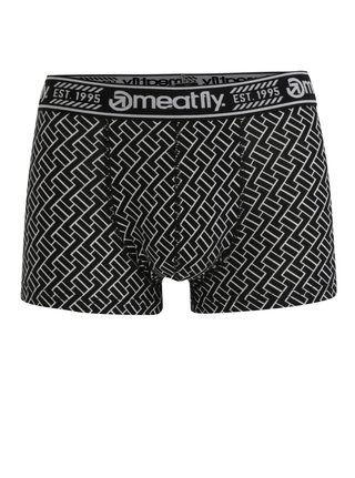 Boxeri negri cu print geometric si talie elastica -  Meatfly Balboa