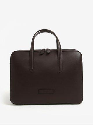 Tmavohnedá dámska kožená taška na notebook ELEGA Lester
