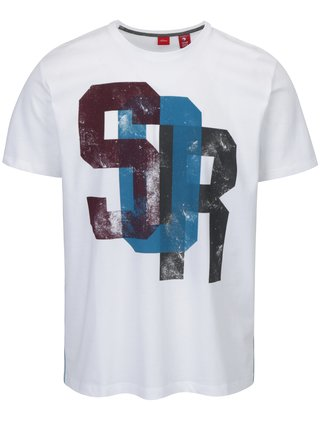 Biele pánske tričko s potlačou a pruhmi na bokoch s.Oliver
