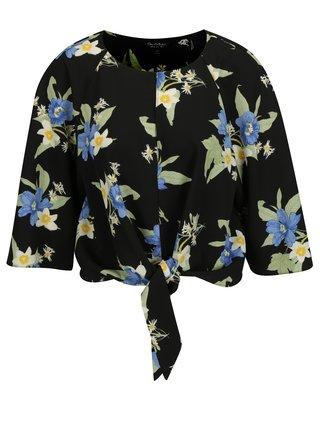 Bluza crop neagra cu print floral si maneci 3/4 Miss Selfridge