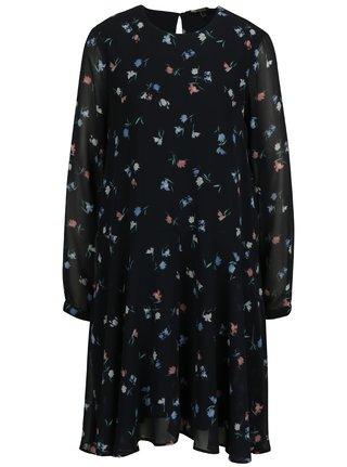 Tmavě modré volné květované šaty VERO MODA Nulle