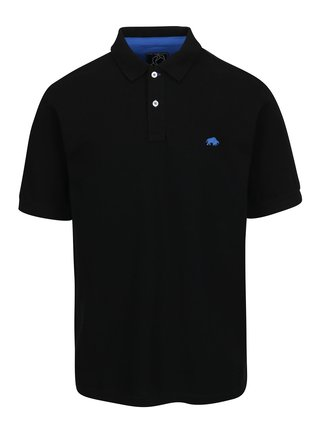Tricou polo negru cu logo brodat - Raging Bull
