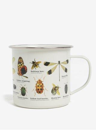 Cana metalica bej cu print insecte Gift Republic