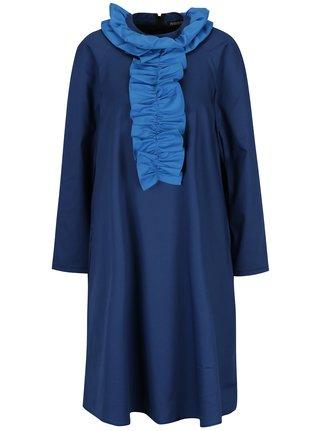 Tmavomodré šaty s volánmi Framboise Cut from crisp