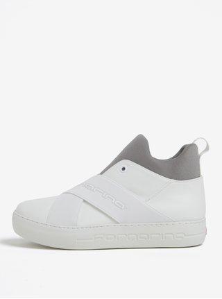 Šedo-krémové kožené kotníkové boty na platformě Fornarina Yuma