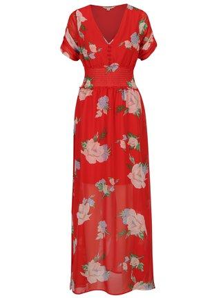 Rochie maxi rosie cu print floral si talie elastica - Miss Selfridge