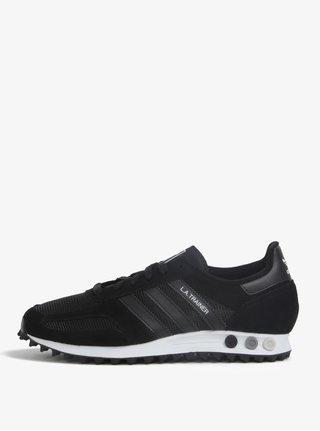 Pantofi sport negri din piele pentru barbati adidas Originals La Trainer OG