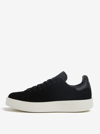 Černé dámské semišové tenisky na platformě adidas Originals Stan Smith Bold