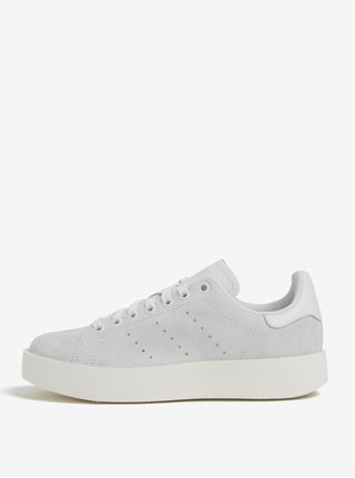 Světle šedé dámské semišové tenisky na platformě adidas Originals Stan  Smith Bold d21cb49098