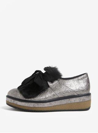 Pantofi gri metalic cu platforma si blana artificiala - Tamaris