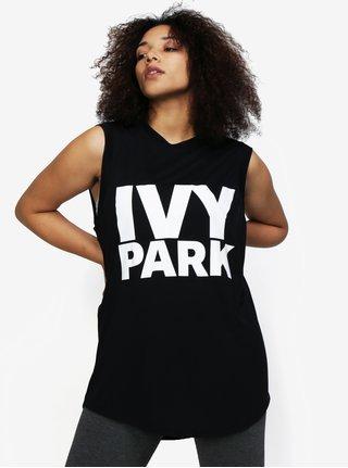Čierne oversize tielko s potlačou Ivy Park
