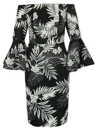 Rochie neagra cu maneci clopot si print floral - Dorothy Perkins