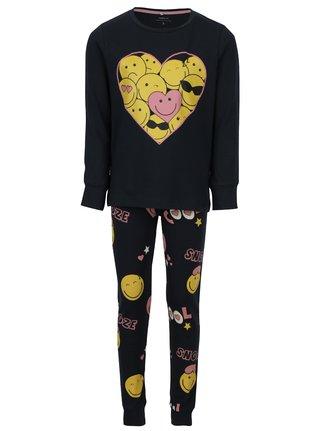 Tmavomodré dievčenské dvojdielne pyžamo s potlačou name it Happy