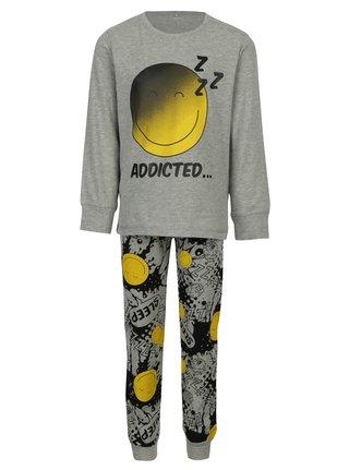 Sivé chlapčenské dvojdielne pyžamo s potlačou name it Happy
