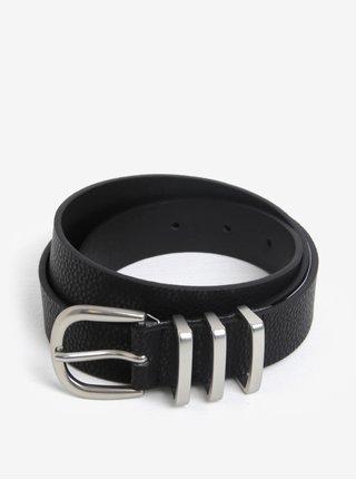 Černý pásek s přezkou ve stříbrné barvě Pieces Lea