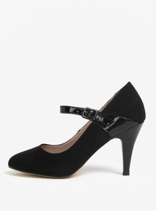 Pantofi negri cu toc si aspect de piele intoarsa - Dorothy Perkins
