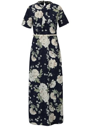 Rochie lunga bleumarin cu print floral si curea in talie - Dorothy Perkins