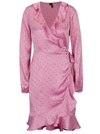 Ružové bodkované zavinovacie šaty VERO MODA Henna