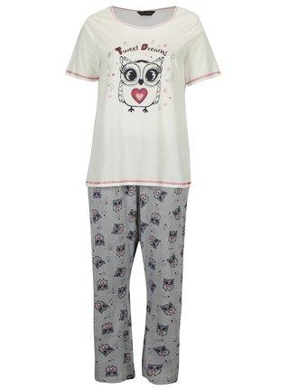 Sivo-krémové dvojdielne pyžamo s potlačou sov Dorothy Perkins Curve