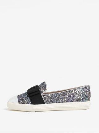 Pantofi slip on cu slipici argintiu si funda - Miss KG Lisa