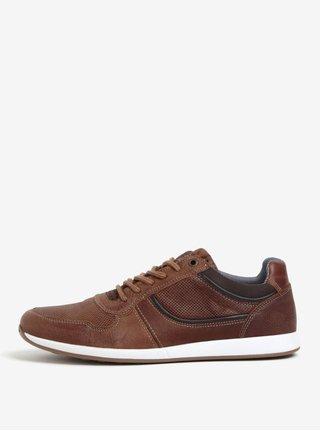 Pantofi sport maro din piele pentru barbati Dune London Trex