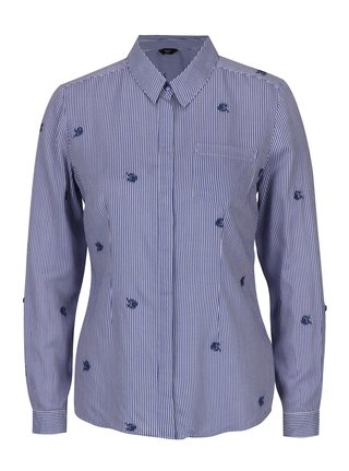 Modrá pruhovaná košeľa s výšivkami M&Co