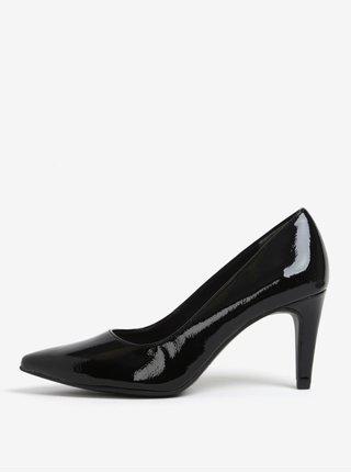 Pantofi negri cu toc si aspect lacuit - Tamaris