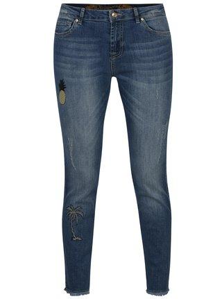 Modré skinny džíny s výšivkou džíny Desigual Blue Loane