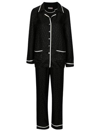 Čierne dvojdielne hodvábne pyžamo La femme MiMi