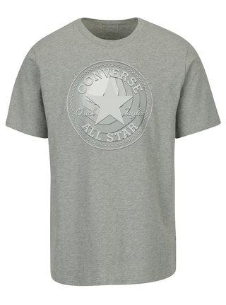 Sivé pánske melírované tričko s potlačou Converse Dimensional Layer Chuckpatch