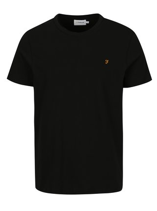 Tricou basic slim fit negru cu logo brodat - Farah Denny