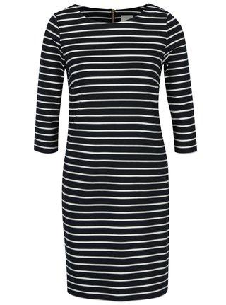 Tmavě modré pruhované šaty s 3/4 rukávem VILA Tinna