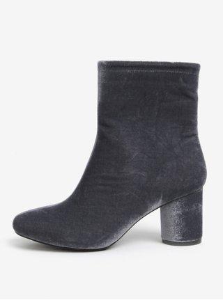Šedé sametové kotníkové boty  MISSGUIDED