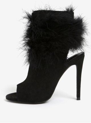 Sandale negre cu aspect de piele intoarsa si puf MISSGUIDED