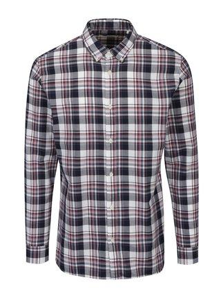 Vínovo-krémová slim fit kostkovaná košile Jack & Jones Premium Lawrence