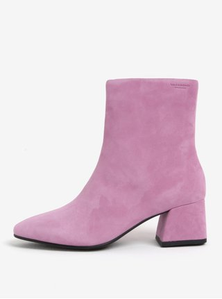 Růžové dámské semišové kotníkové boty na podpatku Vagabond Alice