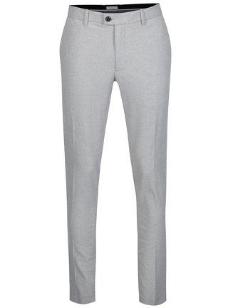 Světle šedé žíhané skinny chino kalhoty Selected Homme Gale