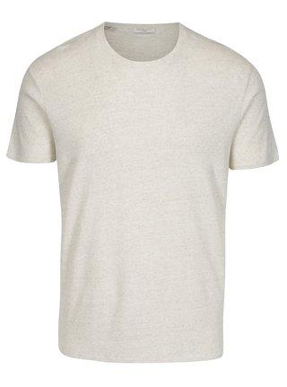 Béžové žíhané basic tričko Selected Homme Tom