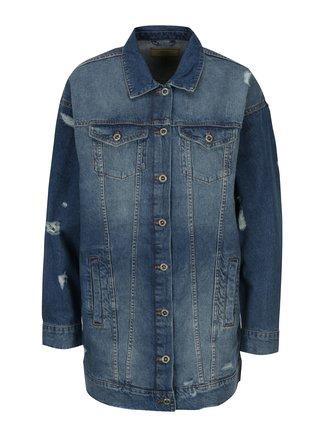 Modrá dlhá rifľová bunda ONLY Crispy