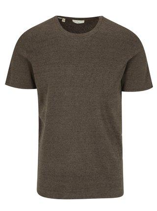 Hnědé žíhané tričko Selected Homme Tom