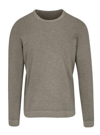 Kaki tričko s dlhým rukávom Selected Homme Ben