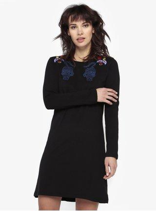 Černé šaty s dlouhým rukávem a výšivkou Desigual Ziggy