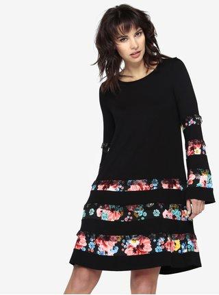 Černé upnuté šaty s květinovým motivem Desigual Latk  16aac8e079