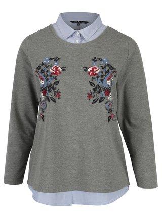 Sivý sveter so všitým golierom Ulla Popken