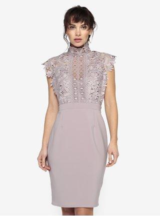Staroružové šaty s čipkovaným topom a stojáčikom Little Mistress