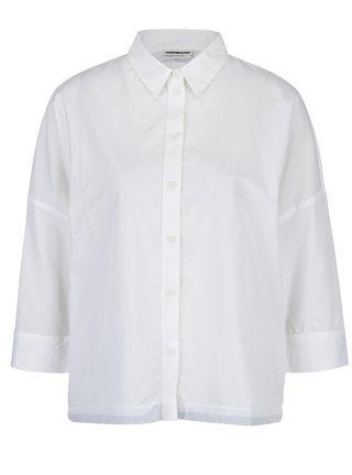 Biela košeľa so sťahovaním na spodnom leme Noisy May Femme
