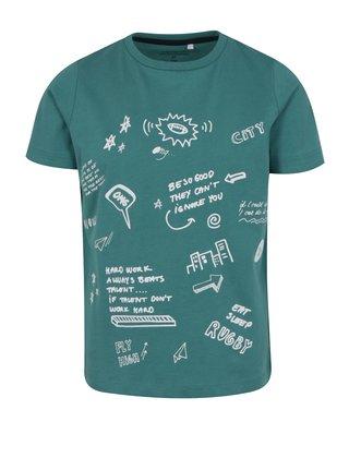 Tmavě zelené klučičí tričko s potiskem name it Jarlo