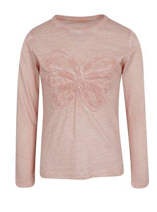 Svetloružové dievčenské tričko s motívom kvetu name it Karla