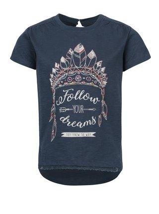Tmavomodré dievčenské tričko s potlačou a korálkami Bóboli